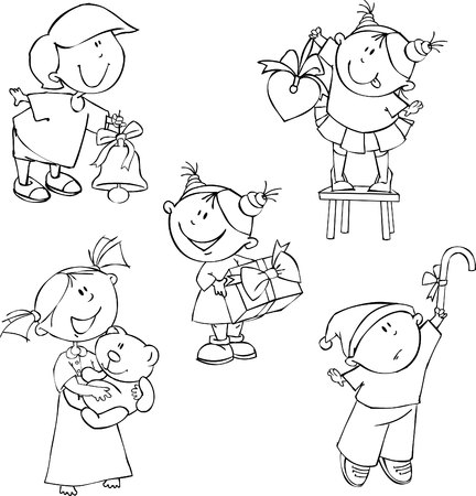 boll: Vector set of Christmas kids Illustration