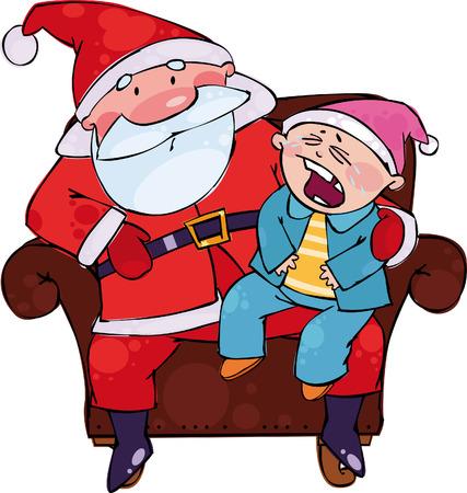 Sitting with Santa Vector