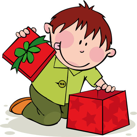 hair bow: Funny boy opens the gift