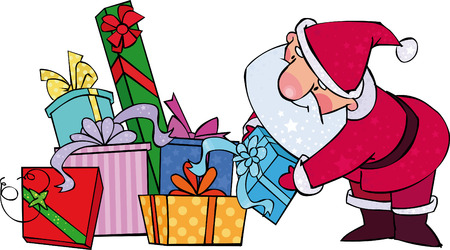 santa suit: Santa with Christmas gifts