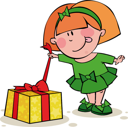 hair bow: Funny girl opens the gift Illustration