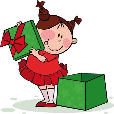 Funny girl opens the gift Illustration