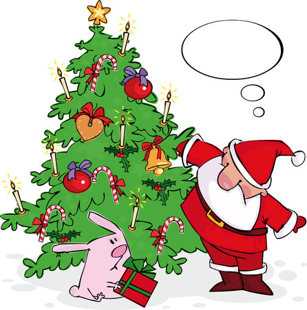 Santa has found under a Christmas tree of a rabbit with a gift  Stock Vector - 6003311