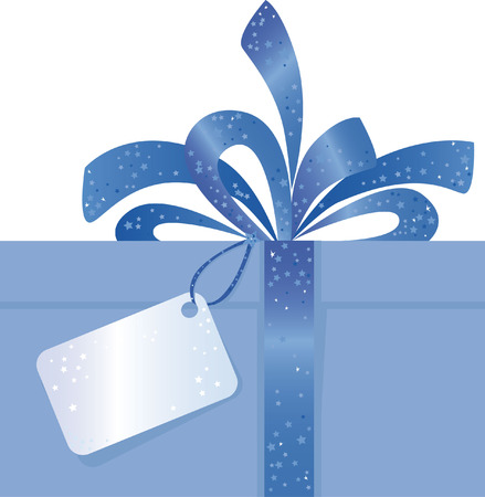 Blue Christmas Present with Bow and Tag Illustration