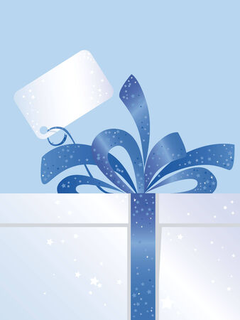 Christmas Present with blue Bow and Tag