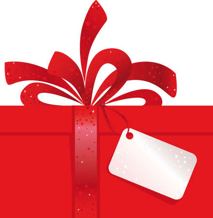 Christmas Present with red Bow and Tag  Vector