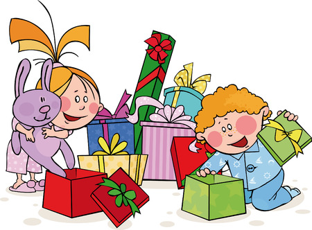 Funny kids opens the gift  Vector