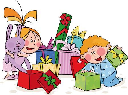 Funny Kinder öffnet das Geschenk  Vektorgrafik