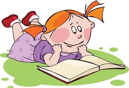 libro caricatura: Niña leyendo un libro  Vectores