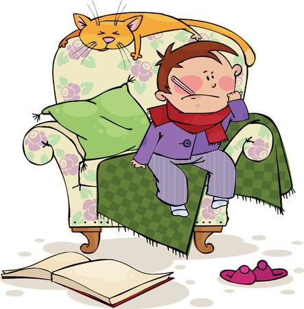 duties: Sick boy and cat in the chair  Illustration