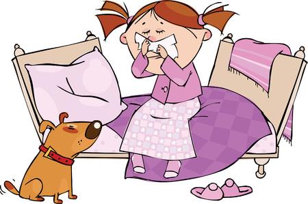estornudo: Ni�a estornudos en el pa�uelo