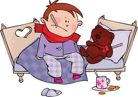 malade au lit: Gar�on malade et en peluche  Illustration