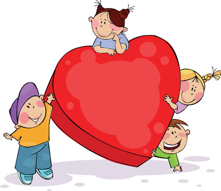 Four funny kids with big red heart