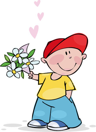 Funny boy with bouquet