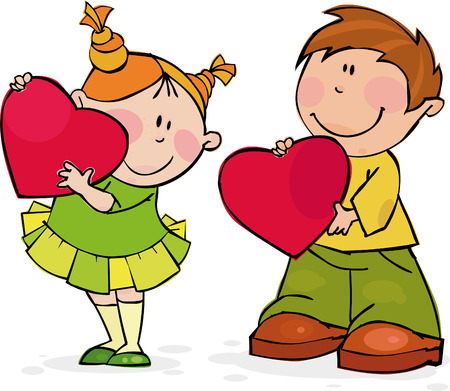 Funny couple with big red hearts