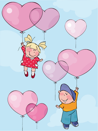 Funny kids fly by pink balloons Illustration