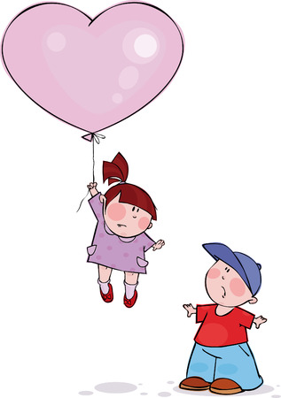 Funny couple with big pink balloon Illustration