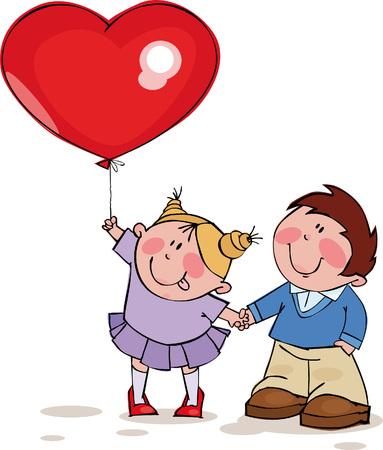 chico: Divertida pareja con gran globo