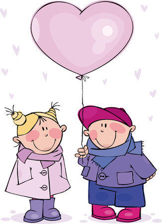 Funny couple with big pink balloon Stock Vector - 6344738