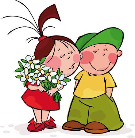 Валентина поцелуй Иллюстрация