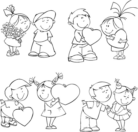 cartoon bouquet: Vector set of funny Valentine kids