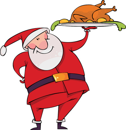 christmas turkey: Santa with Christmas turkey