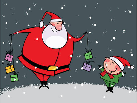 Funny kid and Santa with gift Stock Vector - 8331369