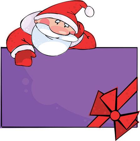 Santa with big gift box Stock Vector - 8331364