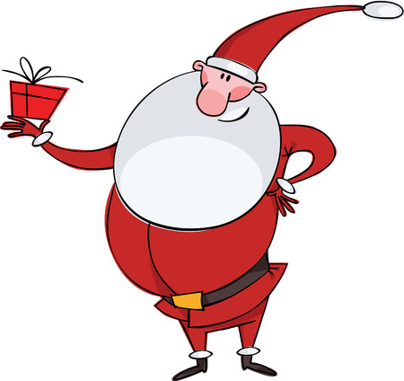 Santa with a big beard and a gift Stock Vector - 8331366