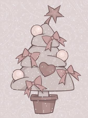 Stylized beige Christmas tree Vector
