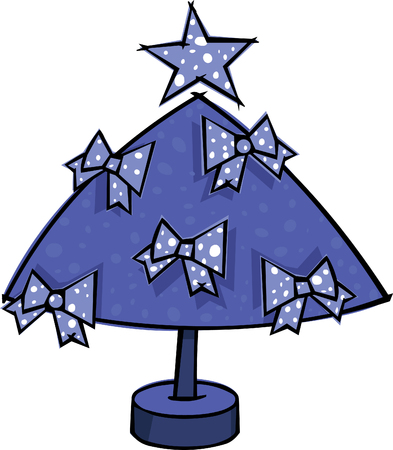 Stylized blue Christmas tree with bows Vector