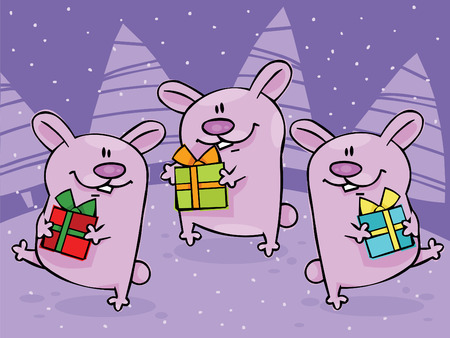 Christmas dancing rabbits with gifts Vector