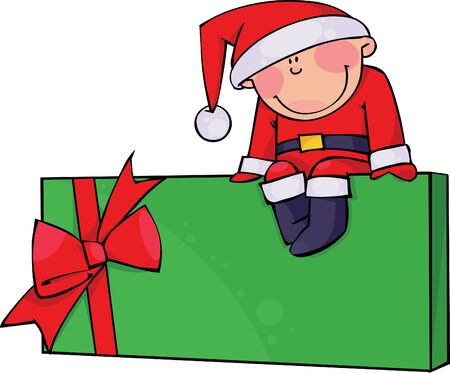 santa suit: Boy in a Santa suit sitting on a gift box