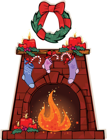 Fireplace decorated for Christmas Ilustração
