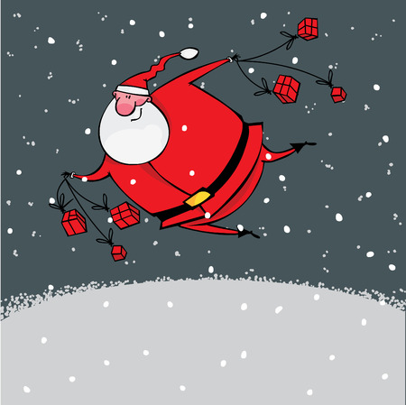 Santa with gifts flies in the night sky Stock Vector - 8331373
