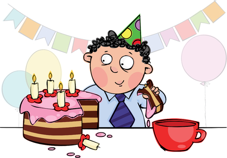 Little boy eating birthday cake Vector