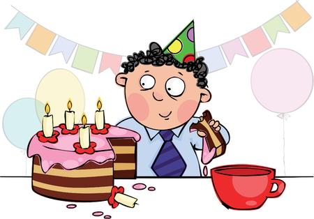 red and yellow card: Ni�o comer pastel de cumplea�os Vectores