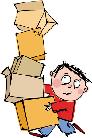 A funny man with a huge pile of boxes