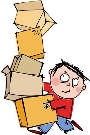 verhuis dozen: Een grappige man met een enorme stapel van vakken