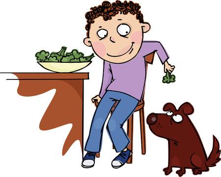 broccoli: The boy feeds the dog broccoli