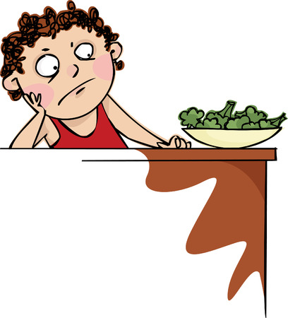 reluctant: Boy did not want to eat broccoli Illustration