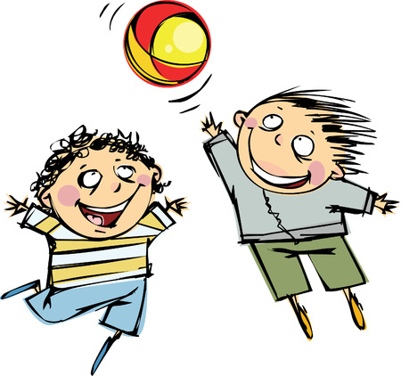 ball and chain: Two boys playing ball Illustration