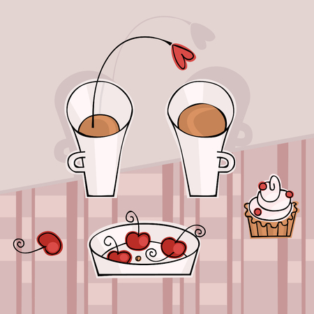 Tea for two with a cherry Stock Vector - 9063791