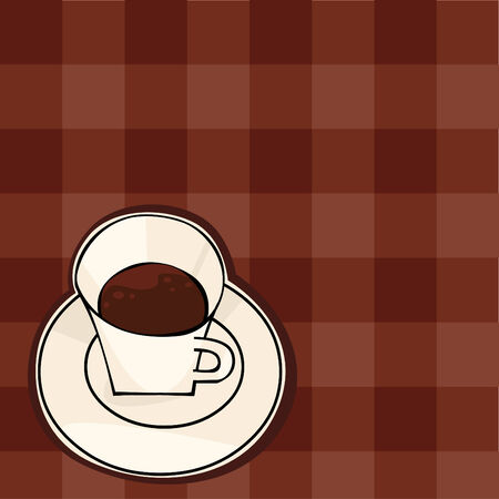 A cup of coffee on the checkered brown background Stock Vector - 9063789