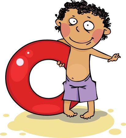 enfant maillot de bain: Anneau gonflable de holding Boy Illustration
