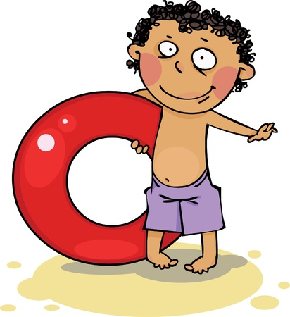 float: Boy holding inflatable ring Illustration