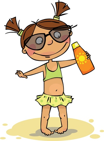 Girl in swimsuit with sunscreen Vector