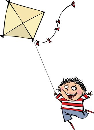 Funny boy with a kite Vector