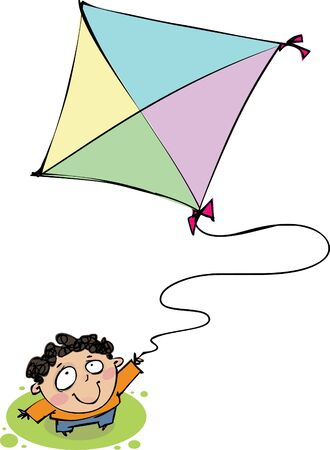 Top view of a boy with a kite Vector