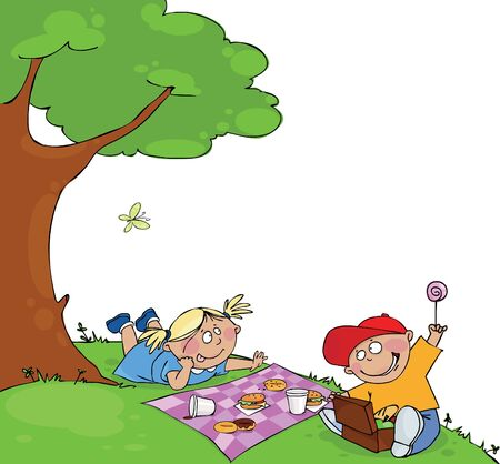hill: Kids at the picnic Illustration